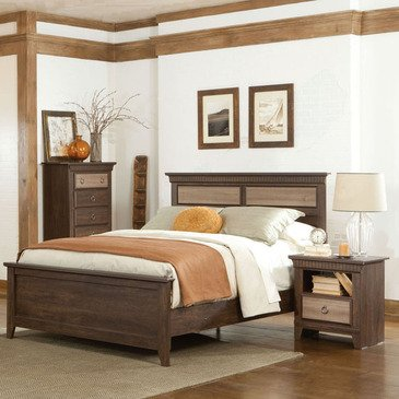 Standard Furniture Weatherly 3 Piece Panel Bedroom Set in Cherry & Weathered Brown
