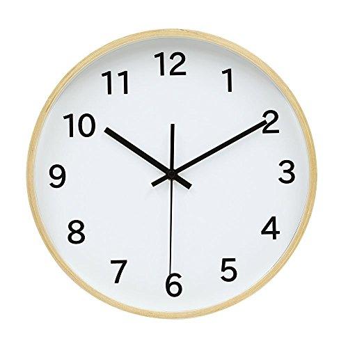 Hanwha シンプル 電波 壁掛け時計 ウッドフレーム 文字あり [連続秒針 スウィープ秒針][木枠][壁時計][アナログ] UP-INTCLO-T02