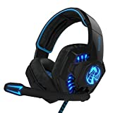 NOSWER I8 3.5mm Wired Stereo Gaming Headset LED Lighting Over Ear Headband Headphone with Microphone for PC Computer Laptop by EMMETTS