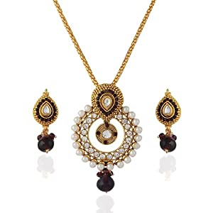 Variation Purple Drop Pearl Studded Chain Pendant Set for Women   VD14008 available at Amazon for Rs.399