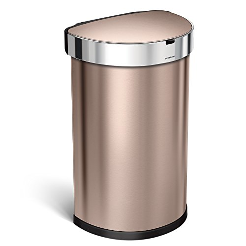 simplehuman 45L Semi-Round Sensor Can, Touchless Motion Sensor Garbage Bin, Rose Gold Stainless Steel, 45 L / 11.8 Gal (Copper Garbage Can compare prices)