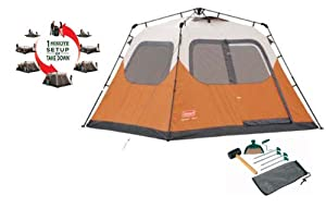 Coleman Outdoor Camping Waterproof 6 Person Instant Tent 10' X 9' + Coleman Tent Kit