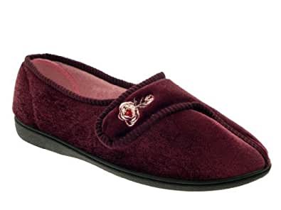WOMENS LUXURY COMFORT SLIPPERS WIDE FIT VELCRO VELVET ROSE MULES LADIES SHOES HEATHER SIZE 3