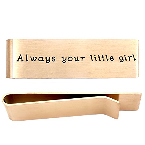O.RIYA Daddy Father's Day Gift Stainless Steel Rose Gold Money Clip , Always Your Little Girl , Gift for Daddy