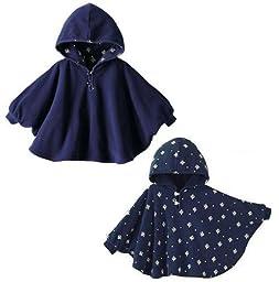 Gaorui Baby Kids Toddler Double-side Wear Hooded Cape Cloak Poncho Coat Hoodie Outwear Romper_Dark Blue-80