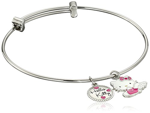 Hello-Kitty-Stainless-Steel-Angel-Charm-Bangle-Bracelet-725