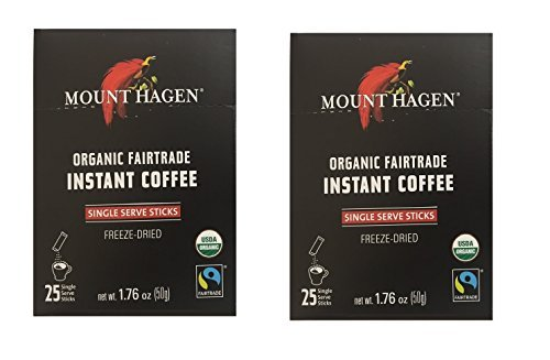 Mount Hagen -REGULAR Organic Instant Coffee Freeze Dried 25 Single Serve Packets- 1.76 Oz Each , (Pack of 2) (Instant Coffee Fair Trade compare prices)