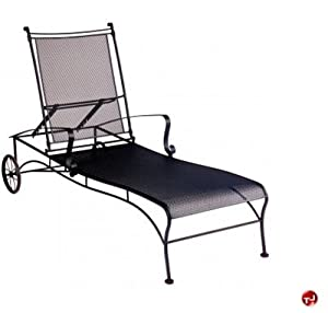 Grid outdoor wrought iron adjustable mesh for Black metal chaise lounge outdoor