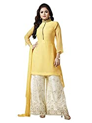 1 Stop Fashion Express your style with this eye catching attire. Yellow Color Georgette Dress fabric looks Completely Amazing. OffWhite color santoon bottom and Yellow Chiffon dupatta is arranged with this apperal. Thread Embroidery work is beautifully designed on this Dress material. Accessories shown in the image are for photography purpose. (Slight color variation is possible)