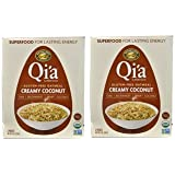 Qi'a Superfood Organic Hot Oatmeal - Creamy Coconut - 2 Boxes with 6 Packets Each Box (12 Packets Total)