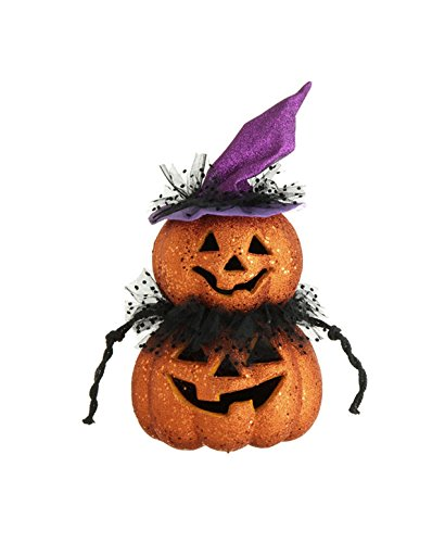"18"" Led Lighted Color Changing Glittered Jack-O-Lantern Pumpkins Halloween Decoration"