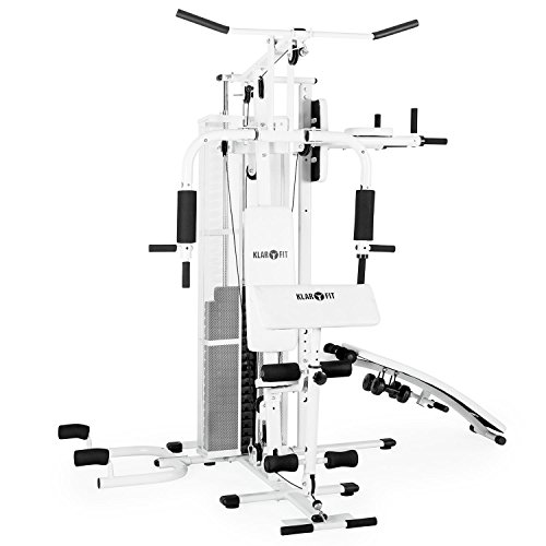 Klarfit Ultimate Gym 5000 Stazione Fitness Multifunzionale Palestra (piú di 50 esercizi differenti come addominali, trazioni vogatore, appoggi imbottiti, 2 x manubri 1.5 KG inclusi) Bianca