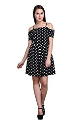 New Sierra women Blue Summer cool off shoulder stripe polka dot dress
