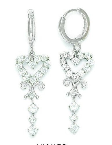 14ct White Gold CZ Heart Hinged Dangle Earrings - Measures 38x11mm
