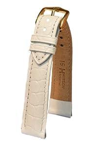 Hirsch Aristocrat M, Leather Watch Strap, White, 16mm, Buckle