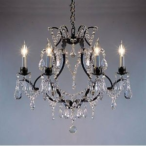 "Wrought Iron Crystal Chandelier Chandeliers H19"" x W20"