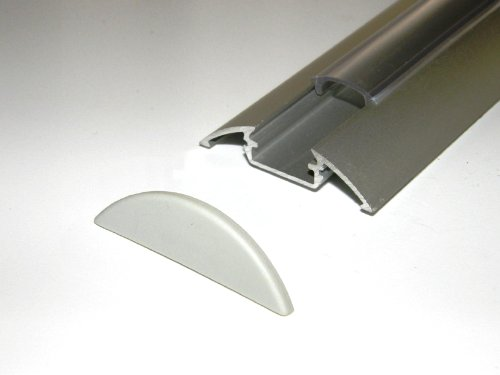 Aluminium Profile P4 For Led Strips / Tapes; Anodized Silver Finish With Transparent Cover And Two End Caps; 1M / 100Cm