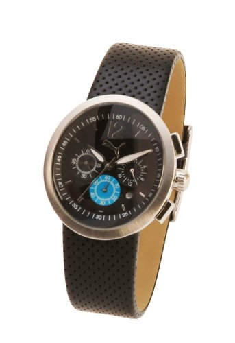 Puma Move Gents Black and Blue Chromo Dial Leather Strap Watch