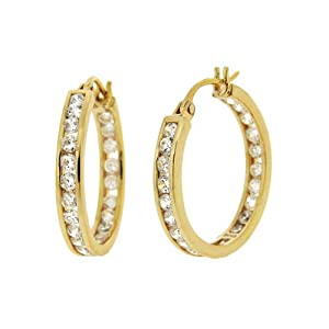 18k Yellow Gold Plated Silver Cubic Zirconia Medium Round Hoop Earrings