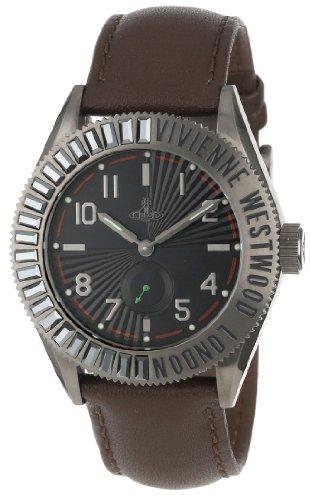 Vivienne Westwood VV007CHBR - Reloj analógico de cuarzo para hombre, correa de cuero color marrón
