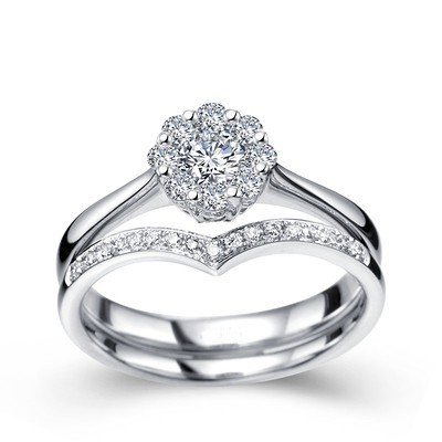 0.58 Carat Bridal Set Round Cut Diamond on 18K White gold