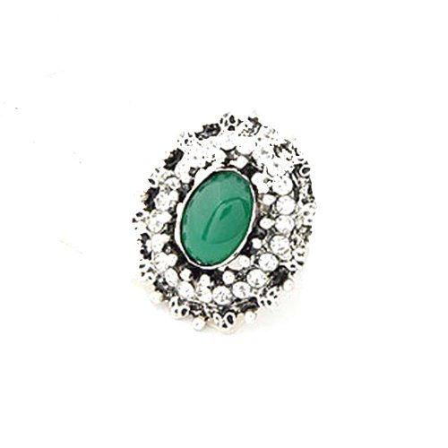 Styonal Styonal Chunky-Funky Silver Green Gem Adjustable Fashion Ring For Women (Multicolor)