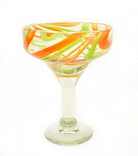 set-of-4-orange-lime-swirl-margarita-glasses-recycled-glass-14oz-by-laredo-import
