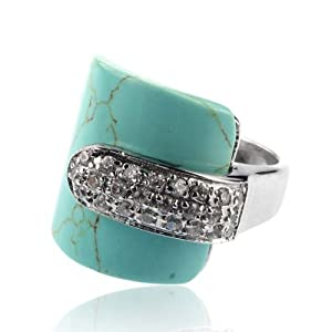 Turquoise Crystal Ring Size 8
