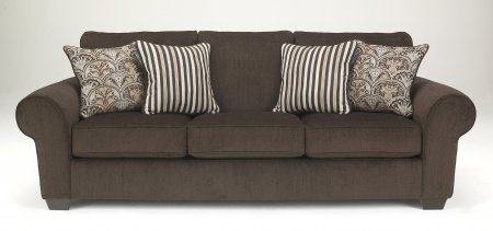 Benchcraft 1100038 Doralynn Sofa with Large Rolled Arms Four Pillows Included and Tapered Feet in