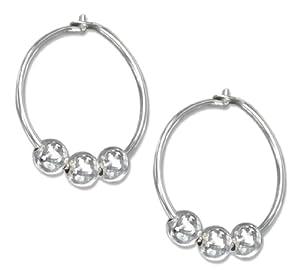 Sterling Silver 14mm Hoop Earrings with Triple Beads