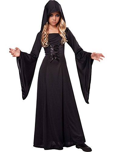 Hooded Robe Child Witch Costume Black