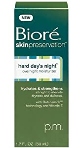 Biore Skin Preservation Hard Day's Night, Overnight Moisturizer, 1.7 Oz (Pack of 3)