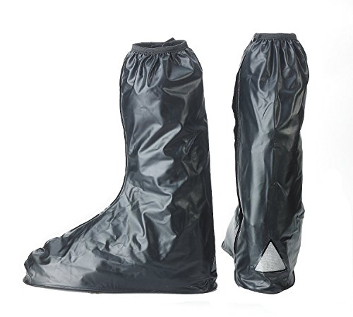 Fasmov Waterproof Anti Slip Motorcycle Biker Rain Boot Shoe Covers,Black ((Euro 42-43/US 8-8.5)) (Motorcycle Shoe Cover compare prices)