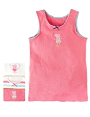 3 Pack Pure Cotton Peppa Pig Vests
