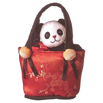 Aurora World Plush - Mini Fancy Pals Pet Carrier - PANDA in Red Asian Print Carrier (5 inch) - 1
