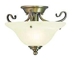 Livex Lighting 6109-01 Coronado 1 Light Ceiling Mount, Antique Brass
