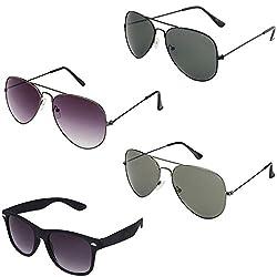 Rhodopsin UV Protected Grey Gradient Aviator,Black Aviator,Grey Aviator and Black Wayfarer Sunglasses (4_Grey_Gradient_Bk_Grey_Avt_Black_Way)