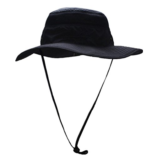 826e8f7f95adf Connectyle Outdoor Mesh Sun Hat Camouflage Boonie Bucket Hats Fishing Hats  with String Black