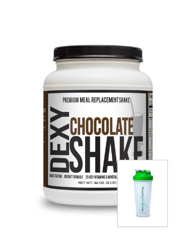 Dexy Shakes, Chocolate Meal Replacement Protein and Amino Acid Shake with 28oz Blender Bottle, for Weight Loss, Body Building, and Nutrition, 2lb Mix