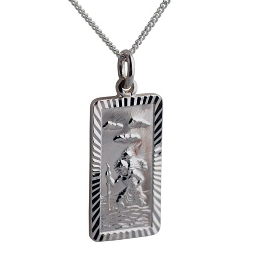 Silver 26x13mm rectangular diamond cut edge St Christopher with Curb chain