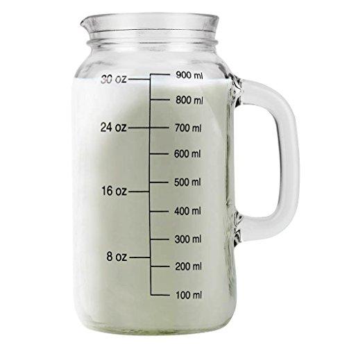 CKB Ltd® Mason Glass MEASURING JARThe classic mason verre liquide de mesure pot de verre de style traditionnel - détient 30 oz / 900 ml