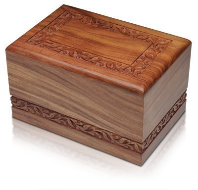 Hand Carved Rosewood Urn with Border Design - Adult by Bogati (Urns Funeral compare prices)