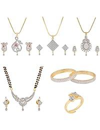 Manikya Wedding Collection Combo Set Containing 1 Bangle Set, 1 Mangalsutra Set, 3 Pendant Sets 1 Ring, Bangle...