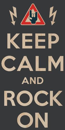 """""""Keep Calm And Rock On"""" W/ Electric Shock Warning Sign - Plywood Wood Print Poster Wall Art"""