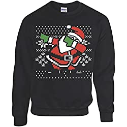 Dabbing Santa Ugly Christmas Sweatshirt Men's Black Sweatshirt