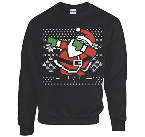 Dabbing Santa Ugly Christmas Sweatshirt Men's Black Sweatshirt (Small)