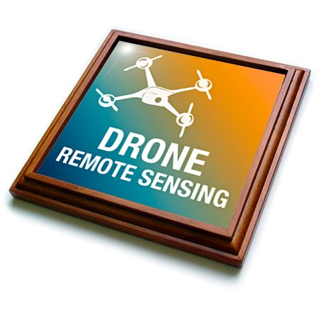 Trv_179892_1 Kike Calvo Drone And Unmanned Vehicle Collection - Blue And Orange Drone With Remote Sensing - Trivets - 8X8 Trivet With 6X6 Ceramic Tile