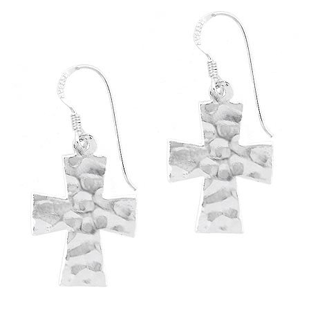 Sterling Silver .925 Hammered design cross dangle Earrings