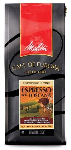 Melitta Café de Europa Gourmet Coffee, Espresso della Toscana Ground, Espresso Roast, 10-Ounce
