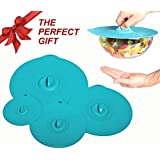 Silicone Suction Lids and Bowl Covers for Cooking, Food Storage and Reheating: Set of 4 Matching Sizes (XL, Large, Medium, Small) for Pots, Pans, Mugs, Coffee Cups and Containers - Premium, Reusable, BPA-Free, Non-Toxic